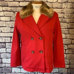 Chico's Red Jacket W/ Detachable Faux Fur Collar